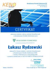 Certyfikat KENO Łukasz Rydzewski