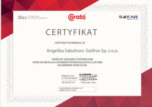 Certyfikat dla firmy Get Free instalacje fotowoltaiczne Poznań