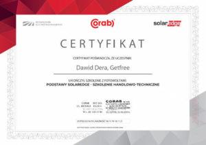 Certyfikat Get Free Instalacje Fotowoltaiczne Poznań