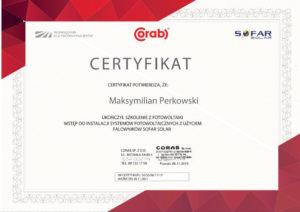 Certyfikat dla firmy Get Free fotowoltaika Poznań