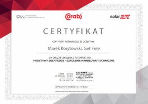 Certyfikat Get Free Fotowoltaika Poznań, szkolenie z fotowoltaiki