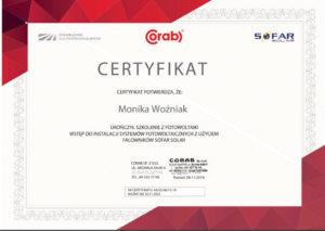 Certyfikat dla firmy Get Free, szkolenie z fotowoltaiki, Wielkopolska